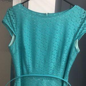 Mint lace overlay cap sleeve dress